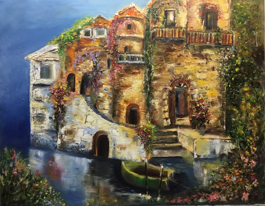 Oil on canvas, Mediterranean house, building structure, architecture, ocean, beach view , floral